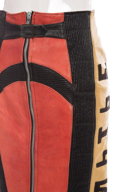 Jean Paul Gaultier 'Russian Constructivist' Leather Skirt, Autumn - Winter 1986 For Sale 4