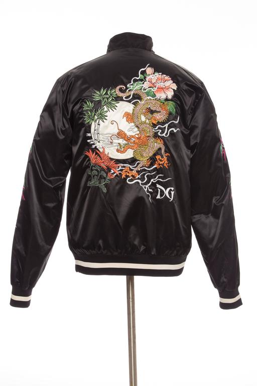 Dolce And Gabbana Men S Black Embroidered Souvenir Jacket