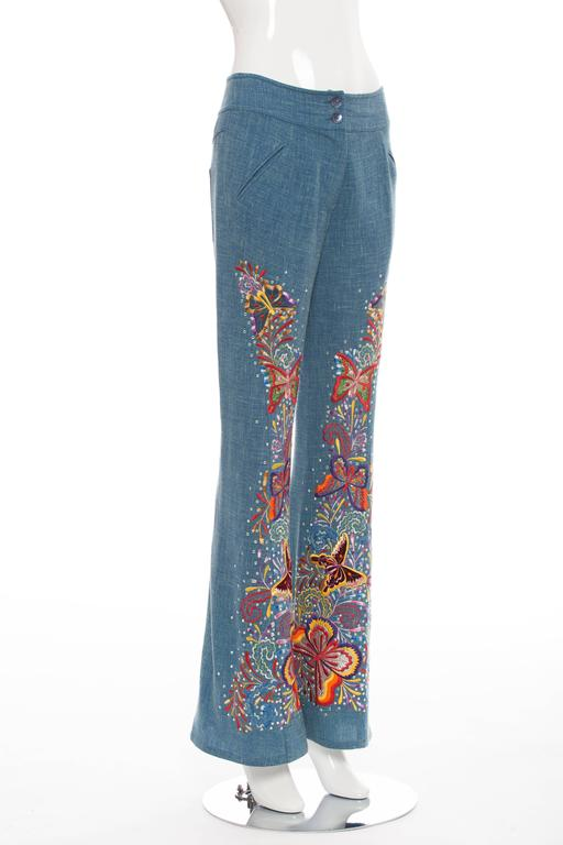Gray John Galliano For Christian Dior Embroidered Linen Pants, Spring - Summer 2002 For Sale