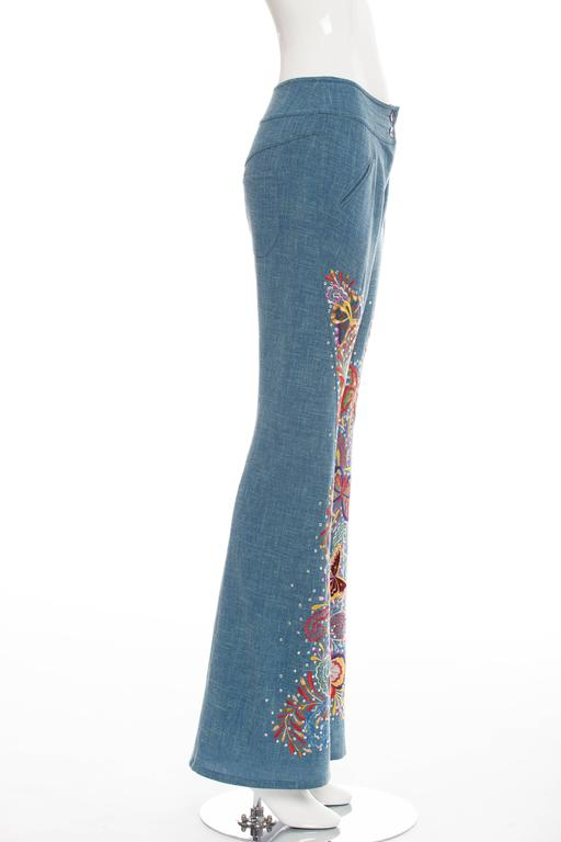 John Galliano For Christian Dior Embroidered Linen Pants, Spring - Summer 2002 In Excellent Condition For Sale In Cincinnati, OH