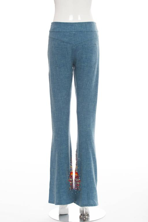 Women's John Galliano For Christian Dior Embroidered Linen Pants, Spring - Summer 2002 For Sale