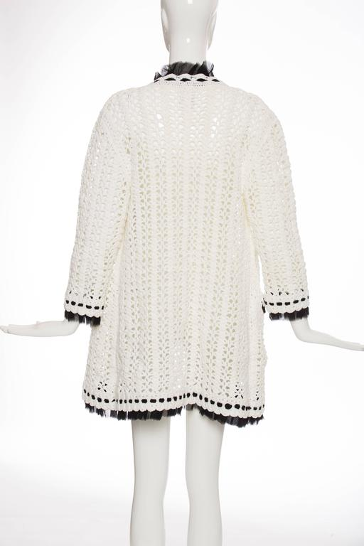 Chanel Ivory Crochet Knit Cardigan With Black Silk Chiffon Trim, Spring 2005 In Excellent Condition For Sale In Cincinnati, OH