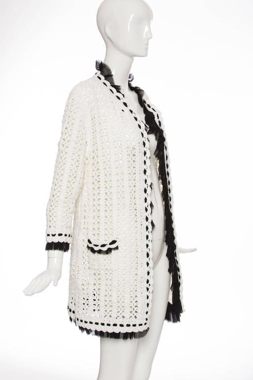Women's Chanel Ivory Crochet Knit Cardigan With Black Silk Chiffon Trim, Spring 2005 For Sale