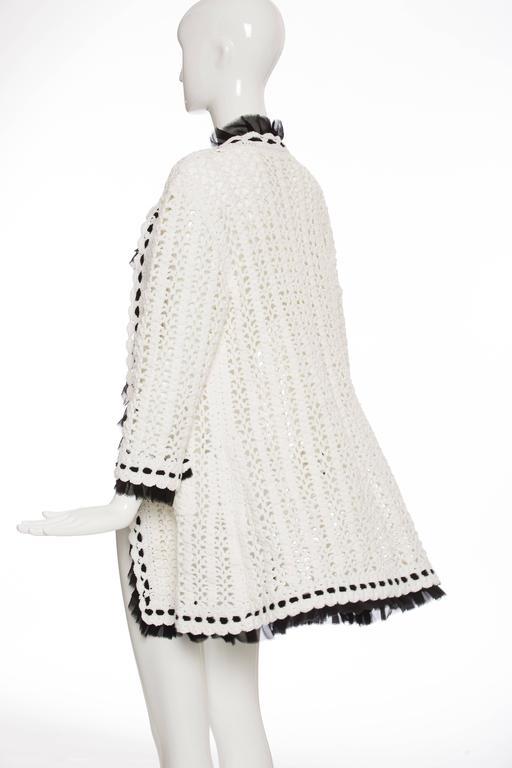 Chanel Ivory Crochet Knit Cardigan With Black Silk Chiffon Trim, Spring 2005 For Sale 2