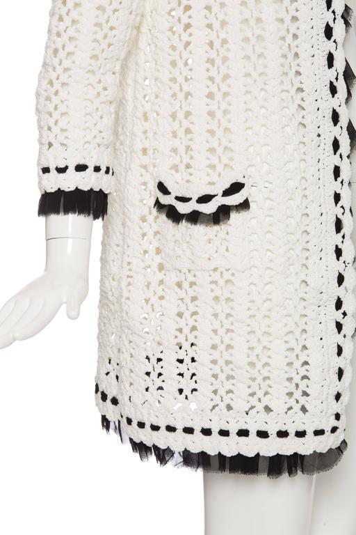 Chanel Ivory Crochet Knit Cardigan With Black Silk Chiffon Trim, Spring 2005 For Sale 1