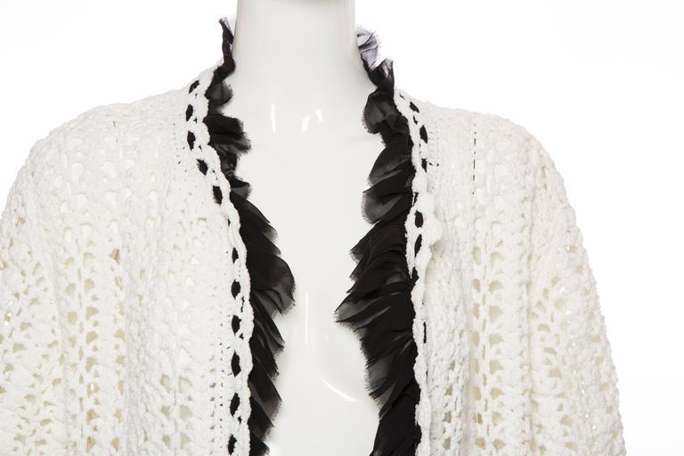 Chanel Ivory Crochet Knit Cardigan With Black Silk Chiffon Trim, Spring 2005 For Sale 3