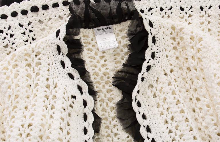 Chanel Ivory Crochet Knit Cardigan With Black Silk Chiffon Trim, Spring 2005 For Sale 4