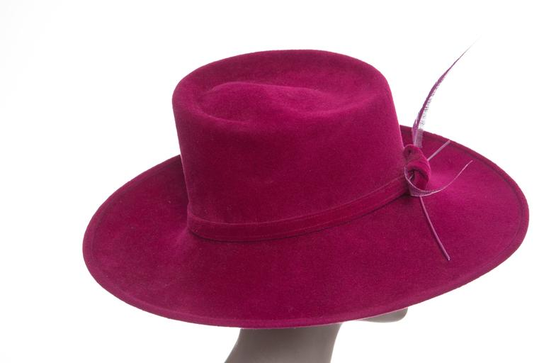 Purple Philip Treacy Wool Felt Dress Hat With Feather Detail For Sale