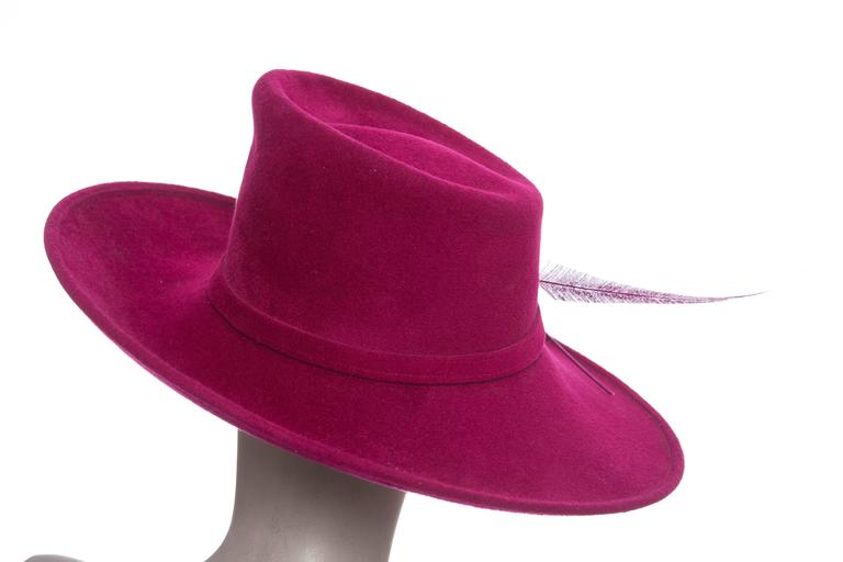 Women's Philip Treacy Wool Felt Dress Hat With Feather Detail For Sale