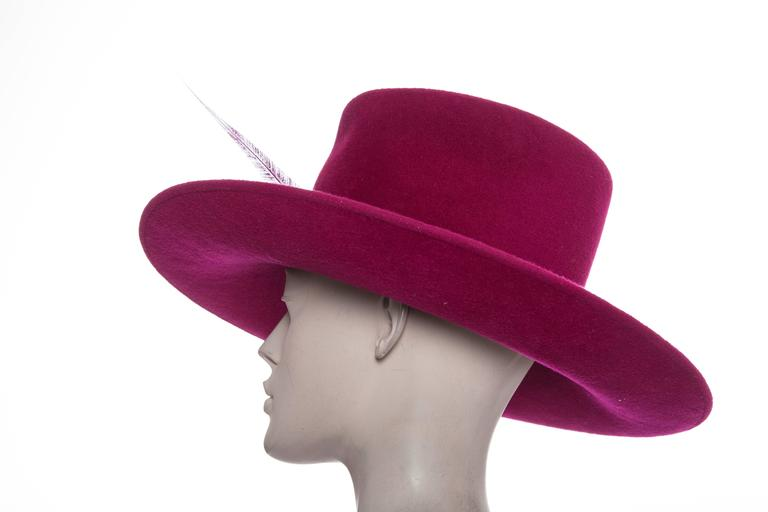 Philip Treacy Wool Felt Dress Hat With Feather Detail 6