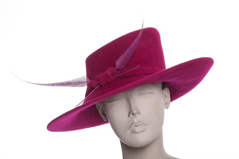Philip Treacy Wool Felt Dress Hat With Feather Detail 7