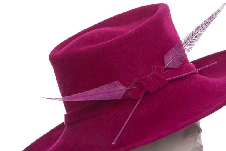 Philip Treacy Wool Felt Dress Hat With Feather Detail 9