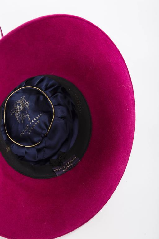 Philip Treacy Wool Felt Dress Hat With Feather Detail For Sale 5
