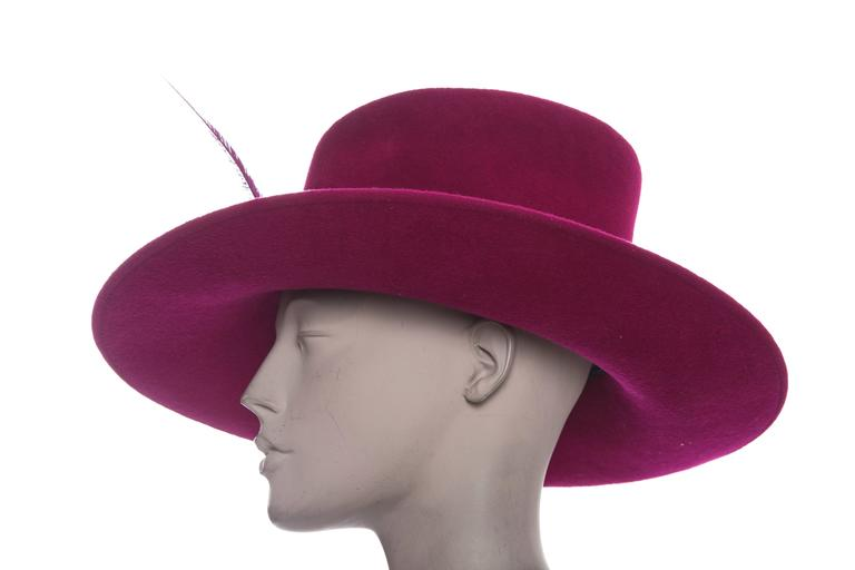 Philip Treacy Wool Felt Dress Hat With Feather Detail For Sale 3