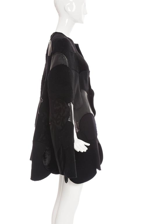 Junya Watanabe Comme des Garcons Black Wool Sequin Leather Cape, Fall 2014 In Excellent Condition For Sale In Cincinnati, OH