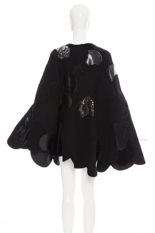 Women's Junya Watanabe Comme des Garcons Black Wool Sequin Leather Cape, Fall 2014 For Sale