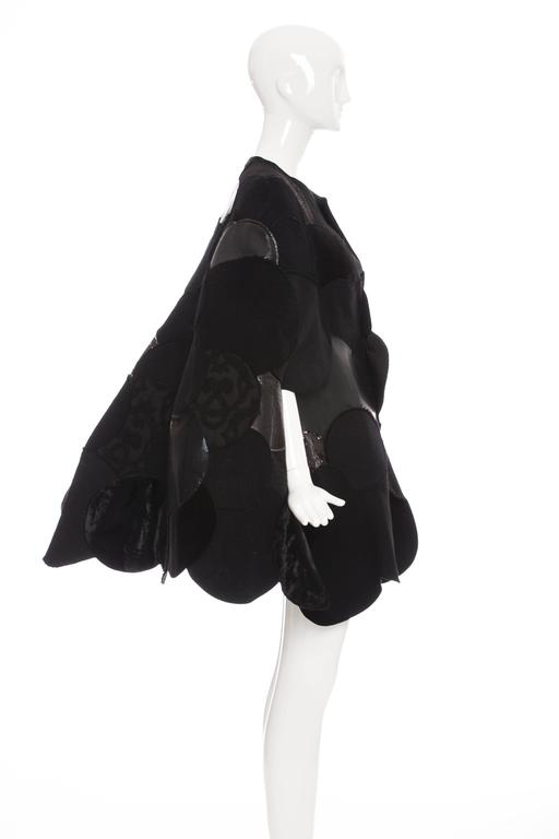 Junya Watanabe Comme des Garcons Black Wool Sequin Leather Cape, Fall 2014 For Sale 1