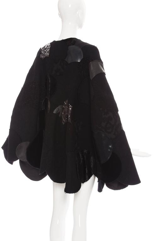 Junya Watanabe Comme des Garcons Black Wool Sequin Leather Cape, Fall 2014 For Sale 3