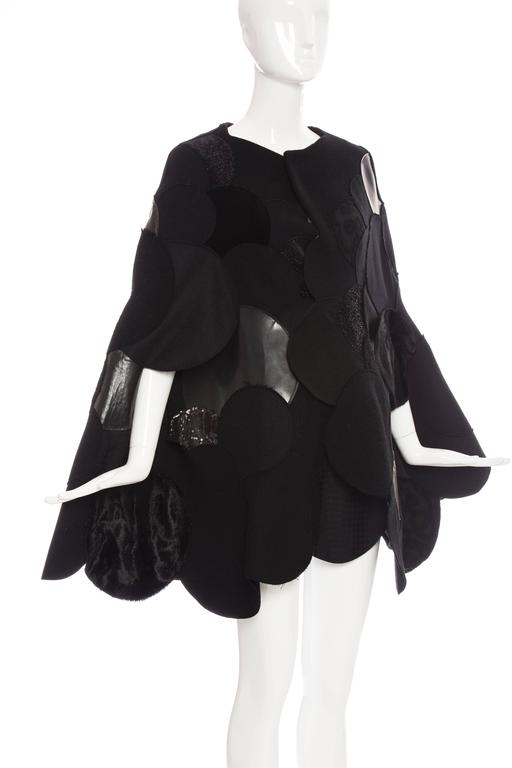 Junya Watanabe Comme des Garcons Black Wool Sequin Leather Cape, Fall 2014 For Sale 4