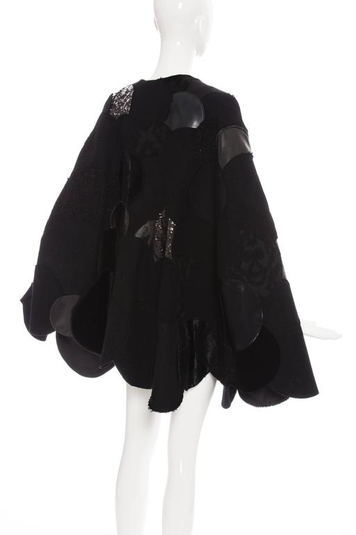 Junya Watanabe Comme des Garcons Black Wool Sequin Leather Cape, Fall 2014 For Sale 5