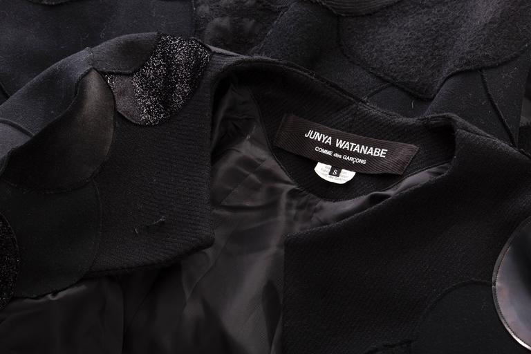 Junya Watanabe Comme des Garcons Black Wool Sequin Leather Cape, Fall 2014 For Sale 6
