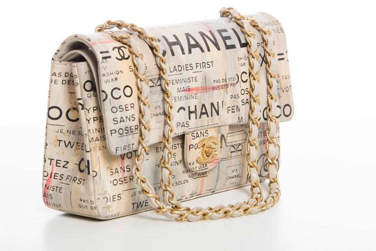 Beige Chanel Limited Edition Graffiti Newspaper Print Double Flap Bag, Spring 2015 For Sale