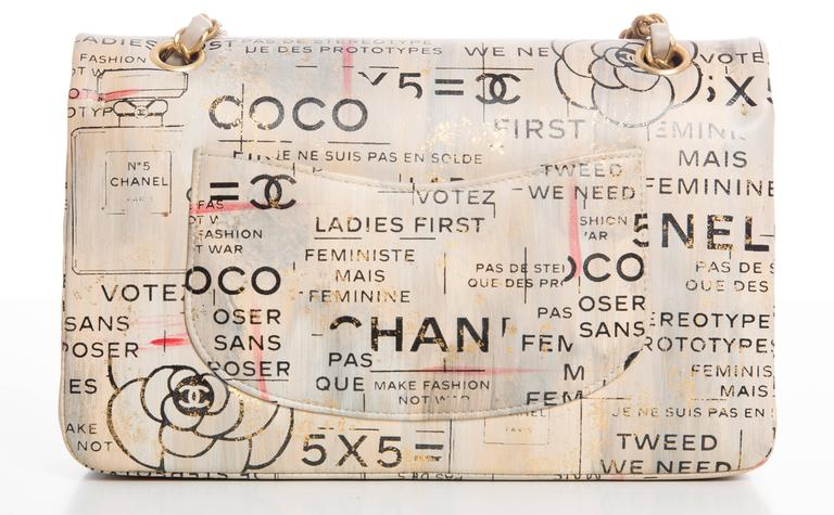 Chanel Limited Edition Graffiti Newspaper Print Double Flap Bag, Spring 2015 In Excellent Condition For Sale In Cincinnati, OH