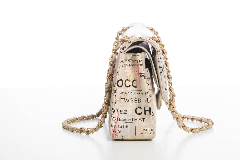Chanel Limited Edition Graffiti Newspaper Print Double Flap Bag, Spring 2015 6