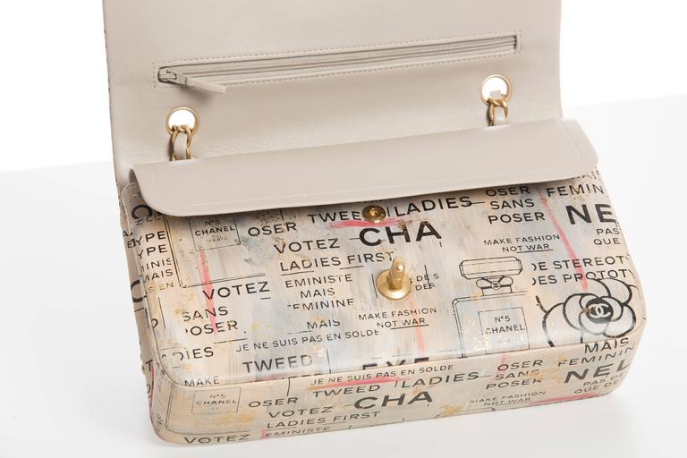 Chanel Limited Edition Graffiti Newspaper Print Double Flap Bag, Spring 2015 7