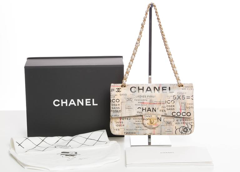 Chanel Limited Edition Graffiti Newspaper Print Double Flap Bag, Spring 2015 For Sale 5