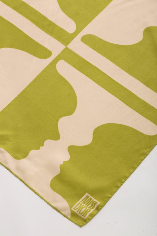 Beige Miss Dior Silk Scarf With Mirrored Profile Faces, Circa 1970's For Sale