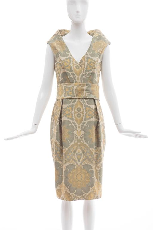 Alexander McQueen Fall 2006 silk jacquard evening dress with high back collar,fully lined in silk.  US. 6