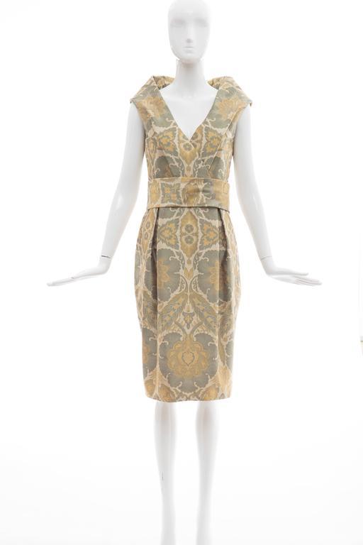 Beige Alexander Mcqueen Silk Jacquard Evening Dress, Fall 2006 For Sale
