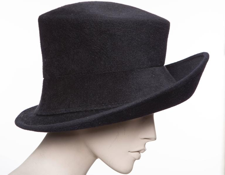 Black Philip Treacy Navy Blue Wool Felt Hat For Sale