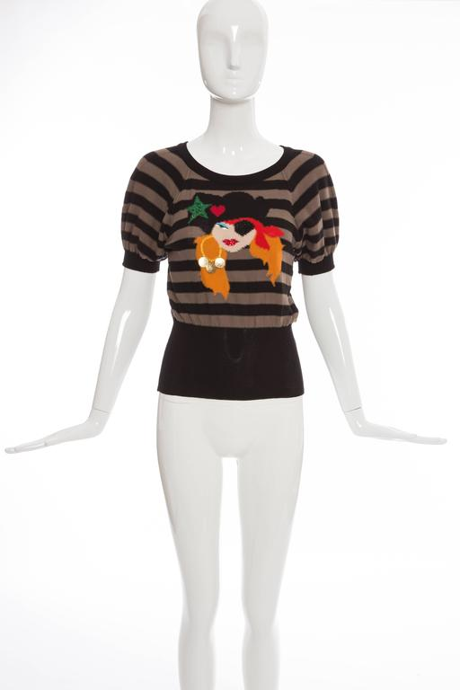 """Sonia Rykiel, Spring-Summer 2005 cotton, knit sweater with stripes throughout, bejeweled embellishments, gold-tone hardware and pirate girl pattern at front.  FR. 38 US. 6  Bust 30"""", Waist 21"""", Length 21.5""""  Fabric Content: 100% Cotton"""