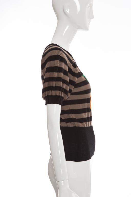 Black Sonia Rykiel Striped Cotton Knit Sweater, Spring - Summer 2005 For Sale