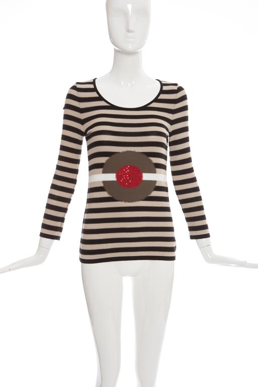 Sonia Rykiel, Spring-Summer 2002, long sleeve knit sweater with scoop neck, embellishment at front and striped pattern throughout.