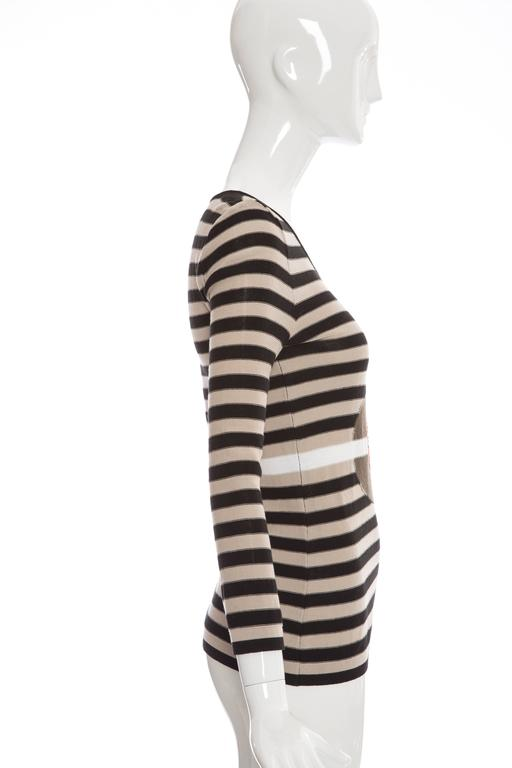 Black Sonia Rykiel Striped Cotton Knit Sweater, Spring - Summer 2002 For Sale