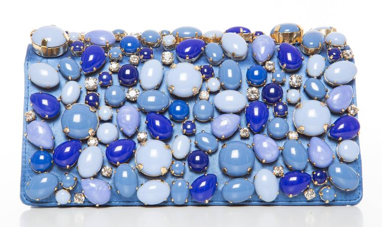 Prada Blue Satin Raso Pietre Clutch, Spring - Summer 2011 In Excellent Condition For Sale In Cincinnati, OH