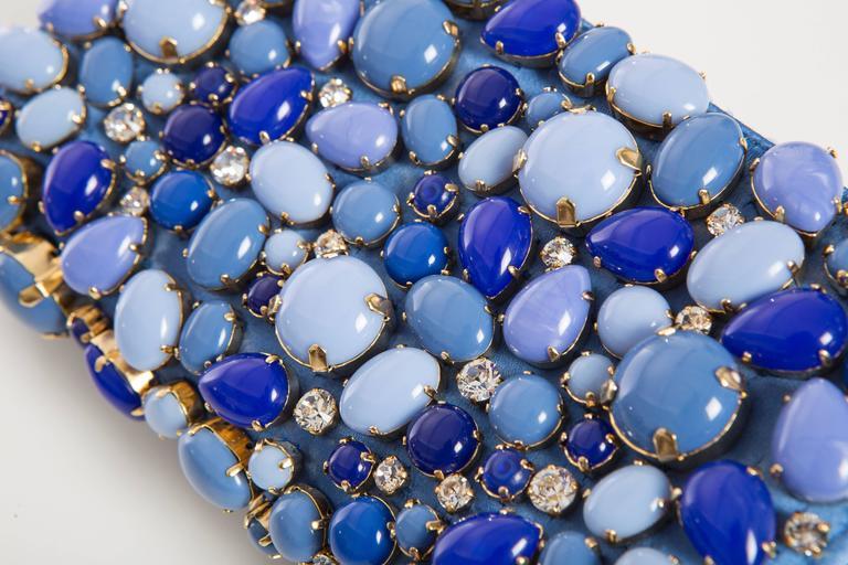 Prada Blue Satin Raso Pietre Clutch, Spring - Summer 2011 For Sale 1