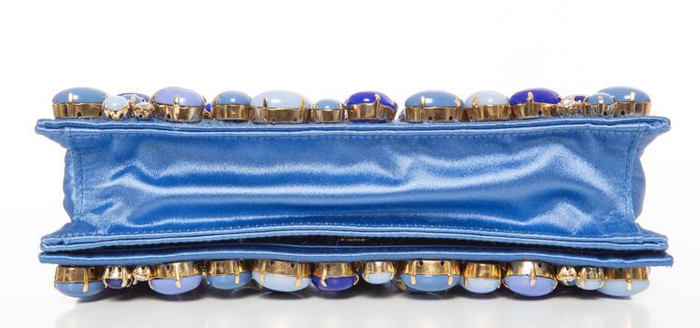Prada Blue Satin Raso Pietre Clutch, Spring - Summer 2011 For Sale 2