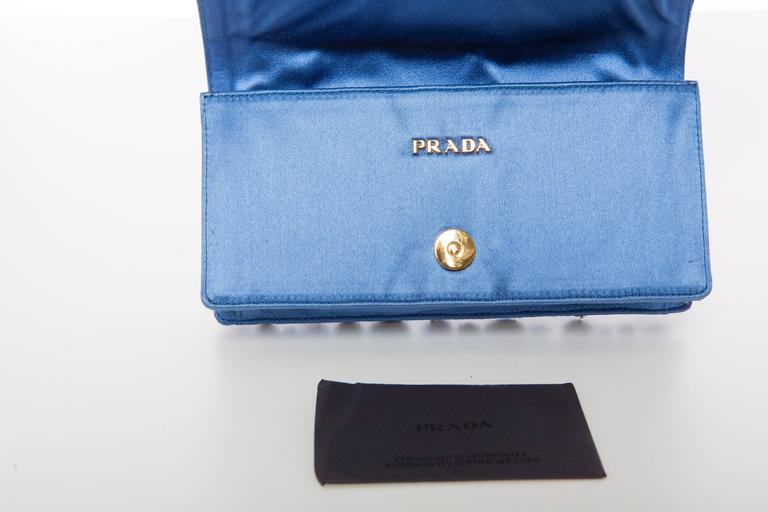 Prada Blue Satin Raso Pietre Clutch, Spring - Summer 2011 For Sale 4