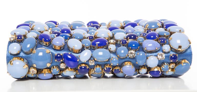Prada Blue Satin Raso Pietre Clutch, Spring - Summer 2011 For Sale 3
