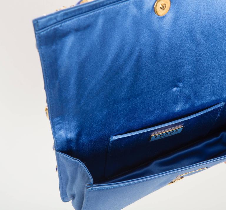 Prada Blue Satin Raso Pietre Clutch, Spring - Summer 2011 For Sale 5