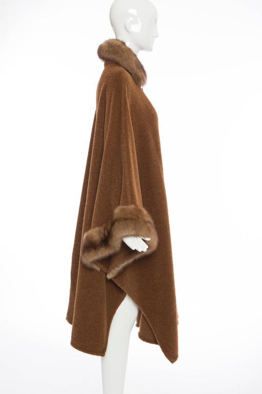 Revillon Alpaca Button Front Cloak - Cape With Sable Trim, Late 20th Century 3