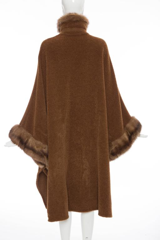 Revillon Alpaca Button Front Cloak - Cape With Sable Trim, Late 20th Century In Excellent Condition For Sale In Cincinnati, OH