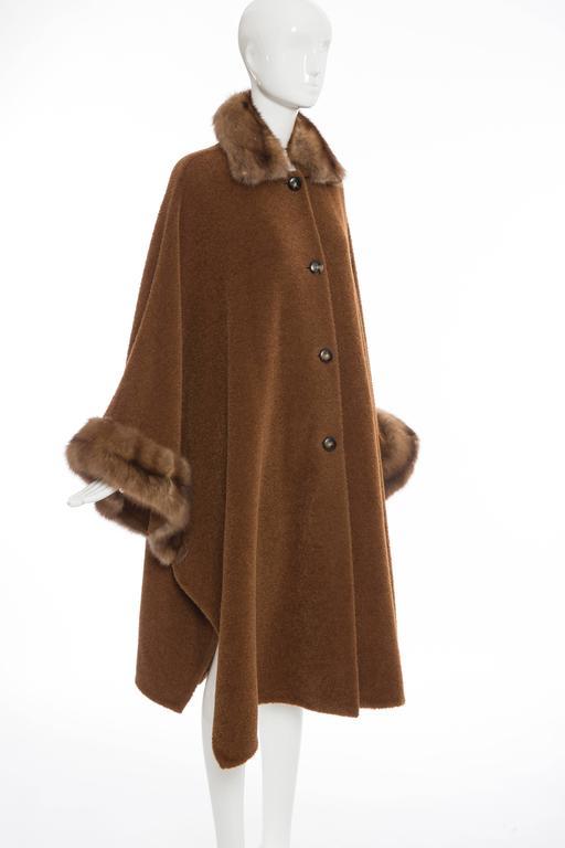 Revillon Alpaca Button Front Cloak - Cape With Sable Trim, Late 20th Century 5