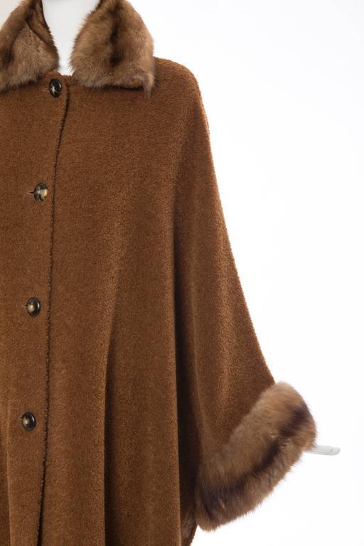 Revillon Alpaca Button Front Cloak - Cape With Sable Trim, Late 20th Century 6