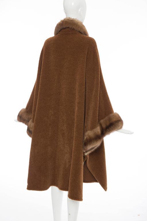 Revillon Alpaca Button Front Cloak - Cape With Sable Trim, Late 20th Century 7