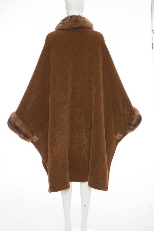 Revillon Alpaca Button Front Cloak - Cape With Sable Trim, Late 20th Century 8